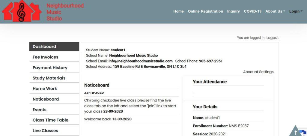 Student Portal - Dashboard